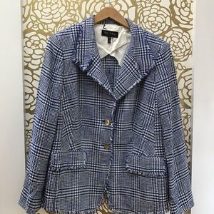 Escada Jackets & Coats - Escada Blue & White Raw Edges Blazer Two Button